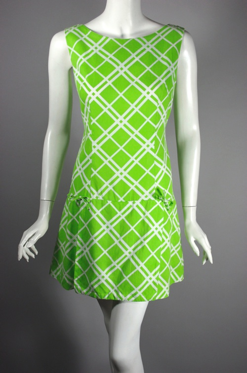 mod 1960s scooter dress 60s romper green cotton print