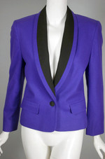 Purple ladies jacket 80s Miss Pendleton cropped tuxedo jacket XS
