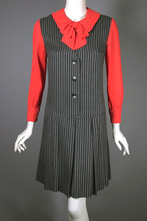 Mid 1960s day dress Peggy Mad Men style pinstripes jumper size S 36 bust
