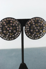 Glam 80s earrings rhinestones boomerangs large button earrings pierced