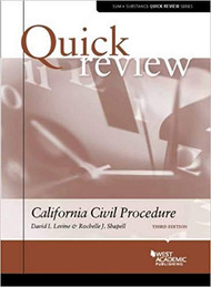 QUICK REVIEW ON CALIFORNIA CIVIL PROCEDURE (3RD, 2016) 9780314290229