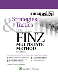 "Strategies & Tactics for the Finz Multistate Method features more than 1100 multiple-choice questions and answers, with over 140 questions for each topic. Every question is written in the Multistate Bar Exam style and complies with the latest MBE formats. Since they are original and not actual released exam questions, these questions are unavailable anywhere else. An in-depth guide, ""Strategies & Tactics—Playing the MBE Game to Win,"" shows students how to handle MBE and MBE-style multiple-choice questions. Detailed answers explain the correct choice and show why the others fall short. Strategies & Tactics for the Finz Multistate Method comes with a complete 200-question MBE-style practice exam.  The 4th Edition has been thoroughly updated to reflect the latest MBE formats and presents 75 brand new original questions.  Features:  more than 1100 multiple-choice questions and answers―over 140 questions for each topic every question written in the Multistate Bar Exam style and complies with the latest MBE formats questions are unavailable anywhere else―author-generated but are not released exam questions Strategies & Tactics—Playing the MBE Game to Win, an in-depth guide on handling MBE and MBE-style multiple-choice questions detailed answers that explain the correct choice and why the others are incorrect complete 200-question MBE-style practice exam The forth Edition presents:  75 brand new original questions"