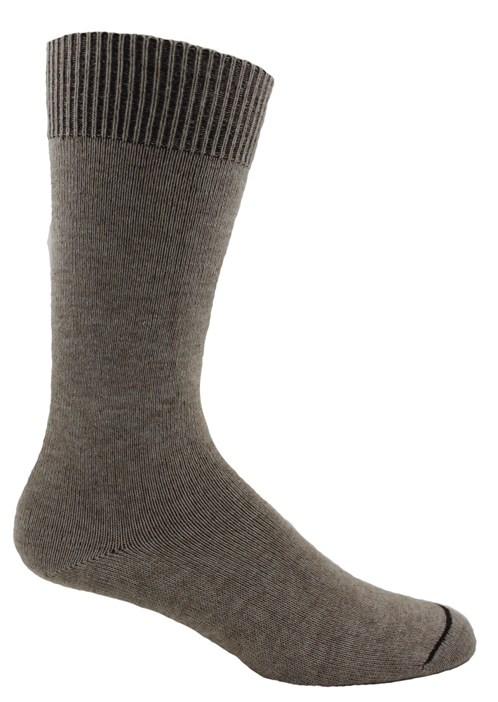 Our casual super soft Alpacor® socks in a soft hue of heather sand have a soft non-binding cuff.
