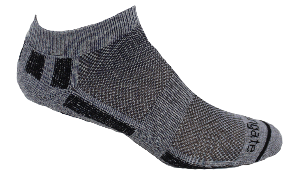 All-Sport Comfortable Alpacor® Yarn in Gray & Black Stripes.