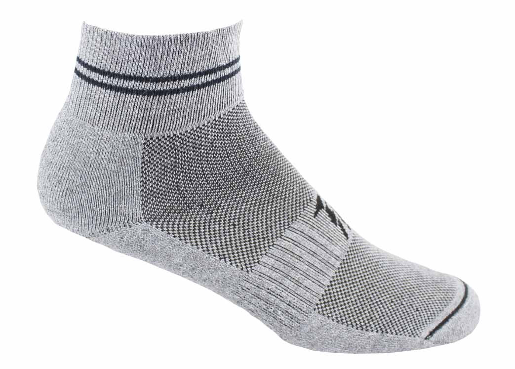 Our gray and black ankle crew socks feature a soft welted cuff to prevent chafing and feature instep mesh panels for breathability.