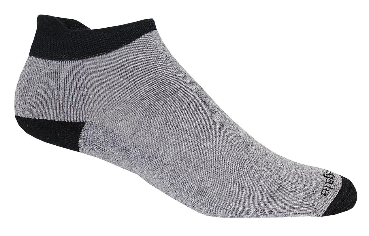 Soft Heel Tab Shorty Alpacor®  Performance Socks In Gray  & Black.