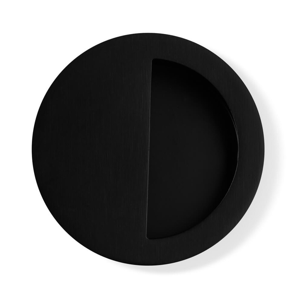 Black Flush Pull Handle 90mm half top