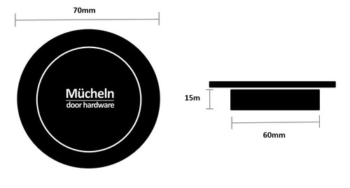 Matte Black FLUSH PULL Round Handle  70mm