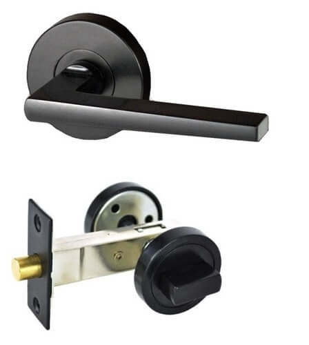 Nidus BLACK Door Handle PRIVACY I Round I 63mm - Hardware Box