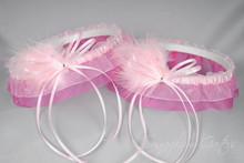 Wedding Garter Set in Pale Pink & Hot Pink with Swarovski Crystals & Marabou Feathers