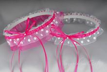 Wedding Garter Set in Hot Pink & White Polka Dot with Pearls
