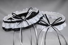 Wedding Garter Set in Black & White Satin with Swarovski Crystals