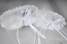Just Married Wedding Garter Set in White Satin with Swarovski Crystal & Marabou Feathers