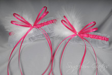 Wedding Garter Set in Hot Pink & White with Pearls & Marabou Feathers