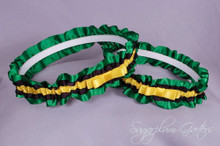 Jamaican Flag Wedding Garter Set with Tailored Bows