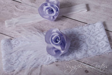 Wedding Garter Set in Lavender Silk & White Lace with Ostrich Feathers