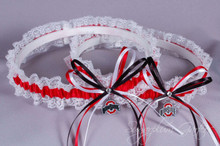 Ohio State University Buckeyes Lace Wedding Garter Set
