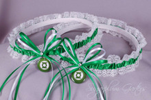 Green Lantern Lace Wedding Garter Set