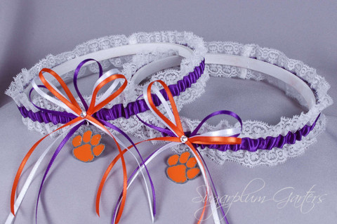 Clemson University Tigers Lace Wedding Garter Set