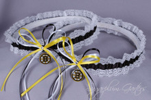 Boston Bruins Lace Wedding Garter Set