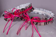 Wedding Garter Set in Hot Pink & Realtree Camouflage Grosgrain with Swarovski Crystals