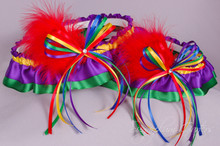 Rainbow Wedding Garter Set with Swarovski Crystals & Marabou Feathers