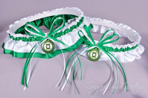 Green Lantern Wedding Garter Set