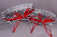 Wedding Garter Set in Red & Zebra Print Grosgrain with Swarovski Crystals