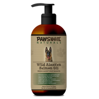 Pawsome Naturals Alaskan Salmon Oil for dogs has many benefits to a dog's health, especially the skin and coat. If you have a dog that suffers from any kind of itching and scratching, then salmon oil will help, regardless of the cause.  Pawsome Naturals Alaskan Salmon Oil contains an abundance of pure, natural Omega 3 & 6's fortified with Vitamin E that acts as a natural preservative.