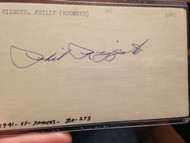 Phil Rizzuto Autographed 3 x 5 Card