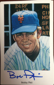 Bobby Pfeil Autographed 1994 Capitol Cards 69 Mets Postcard