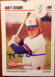 Matt Stairs Autographed 1992 Skybox #94