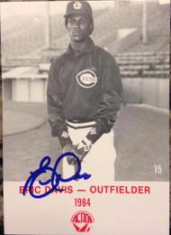 SOLD 2701 Eric Davis Autographed 1984 Rock's #15 Wichita Aeros Minor Leagues