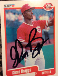 Glenn Braggs Autographed 1990 Fleer Update #U-11 Signed in Black
