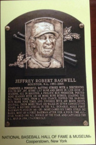 Jeff Bagwell Stamped and Canceled Hall of Fame Gold Plaque Postcard