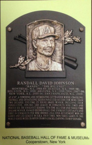Randy Johnson Stamped and Canceled Hall of Fame Gold Plaque Postcard