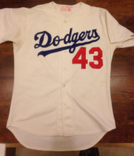SOLD 4919 Ken Howell Autographed Game Used Los Angeles Dodgers Home Game Used 1980's Jersey