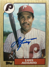 Luis Aguayo Autographed 1987 Topps #755
