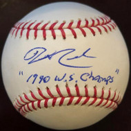 Jeff Reed 1990 W.S. Champs Autographed ROMLB Baseball