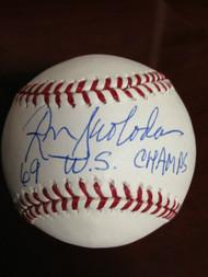 SOLD 858 Ron Swoboda  Autographed ROMLB Baseball 69 W.S. Champs
