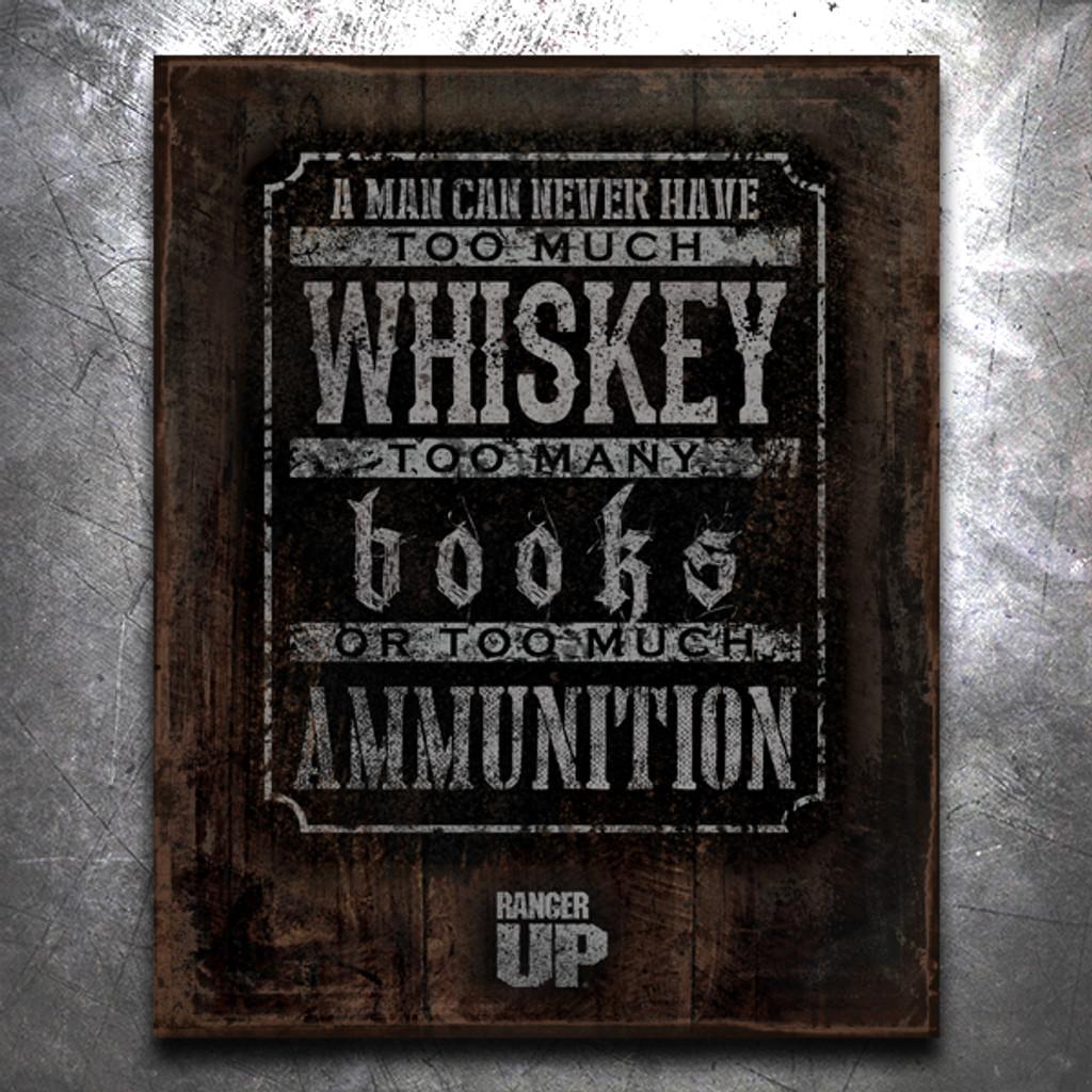Books, Whiskey, Ammo Vintage Tin Sign