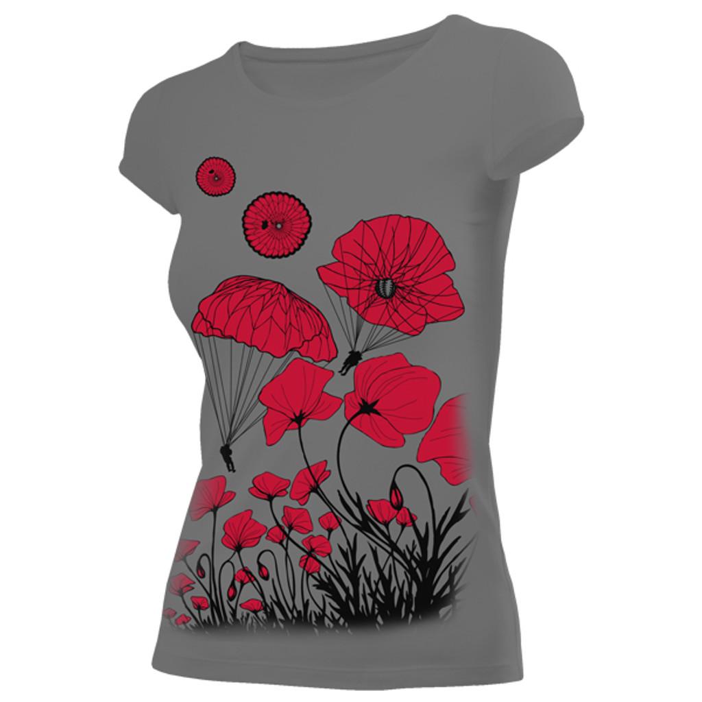 Women's Paratrooper Poppy Field Memorial T-Shirt