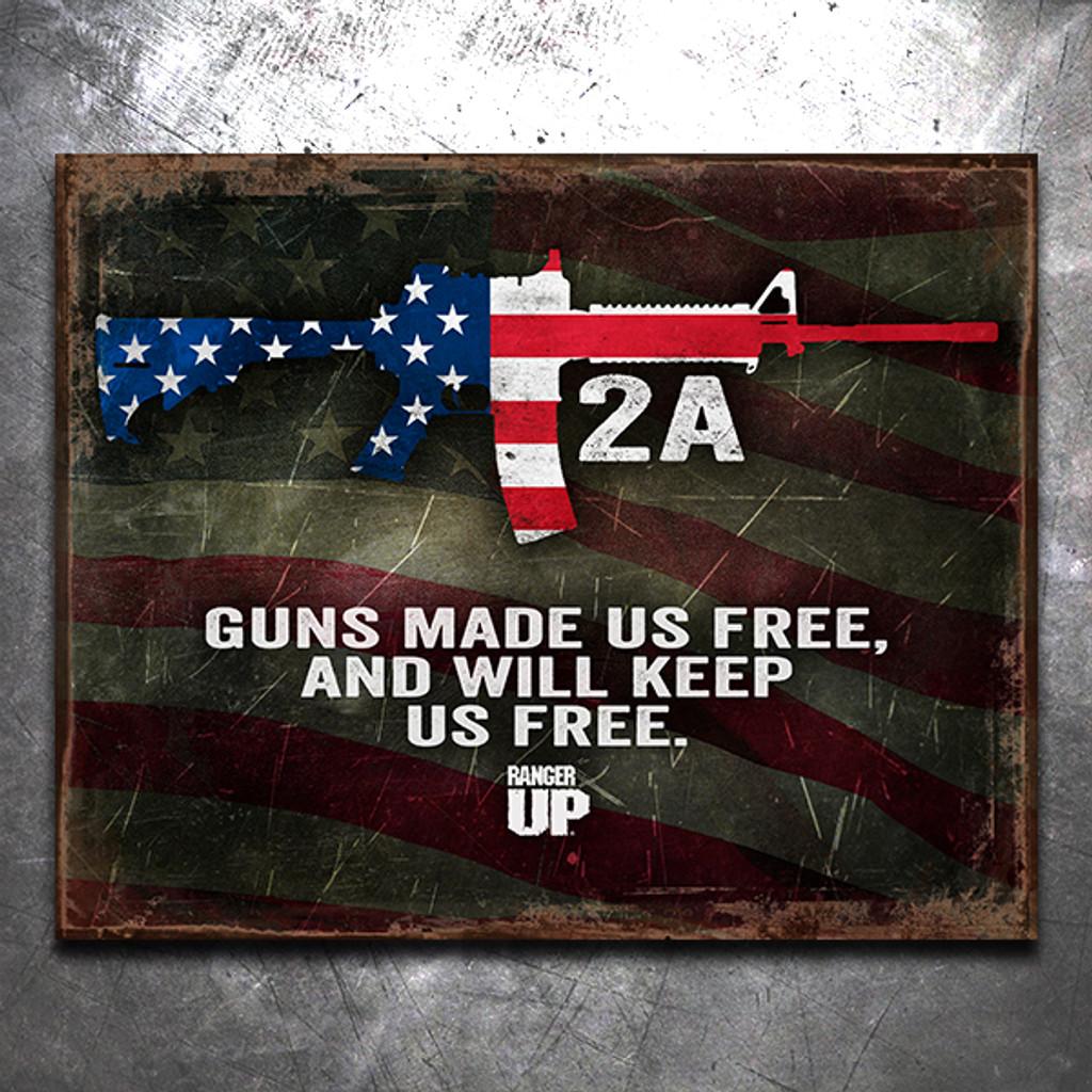 Guns Made Us Free Vintage Tin Sign
