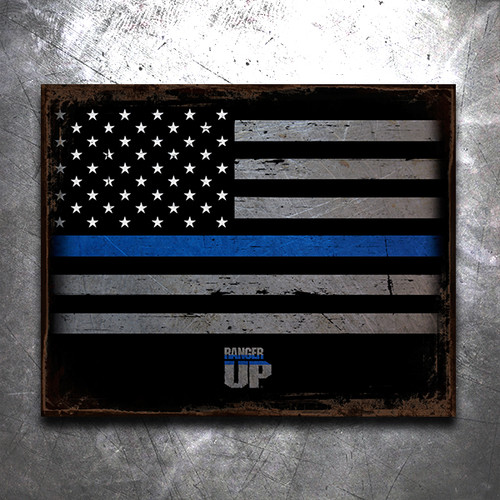 Thin Blue Line Flag Vintage Tin Sign