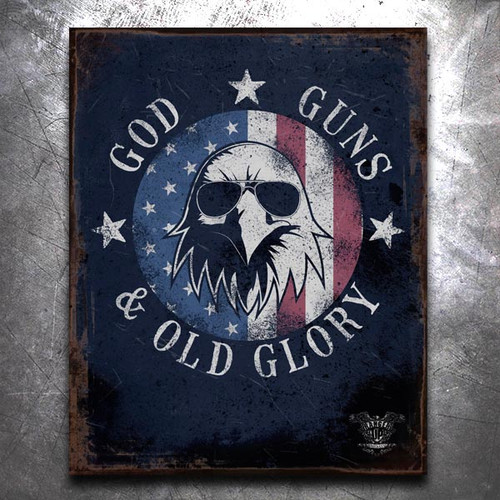 God, Guns, and Old Glory Old World Vintage Tin Sign