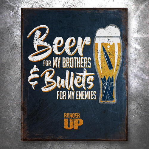Beer For My Bros Vintage Tin Sign