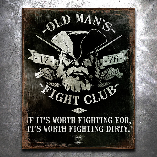 Old Man's Fight Club Vintage Tin Sign