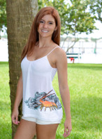 Spiny Lobster White Spaghetti Strap Tank Top
