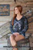 Burnout crystal crossed pistol long-sleeve top