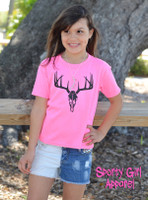 neon pink kids deer skull shirt